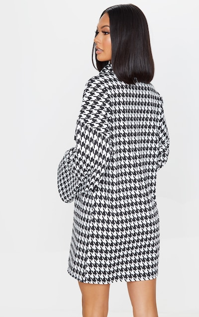 Black Dogtooth Print Rib Roll Neck Flare Sleeve Jumper Dress