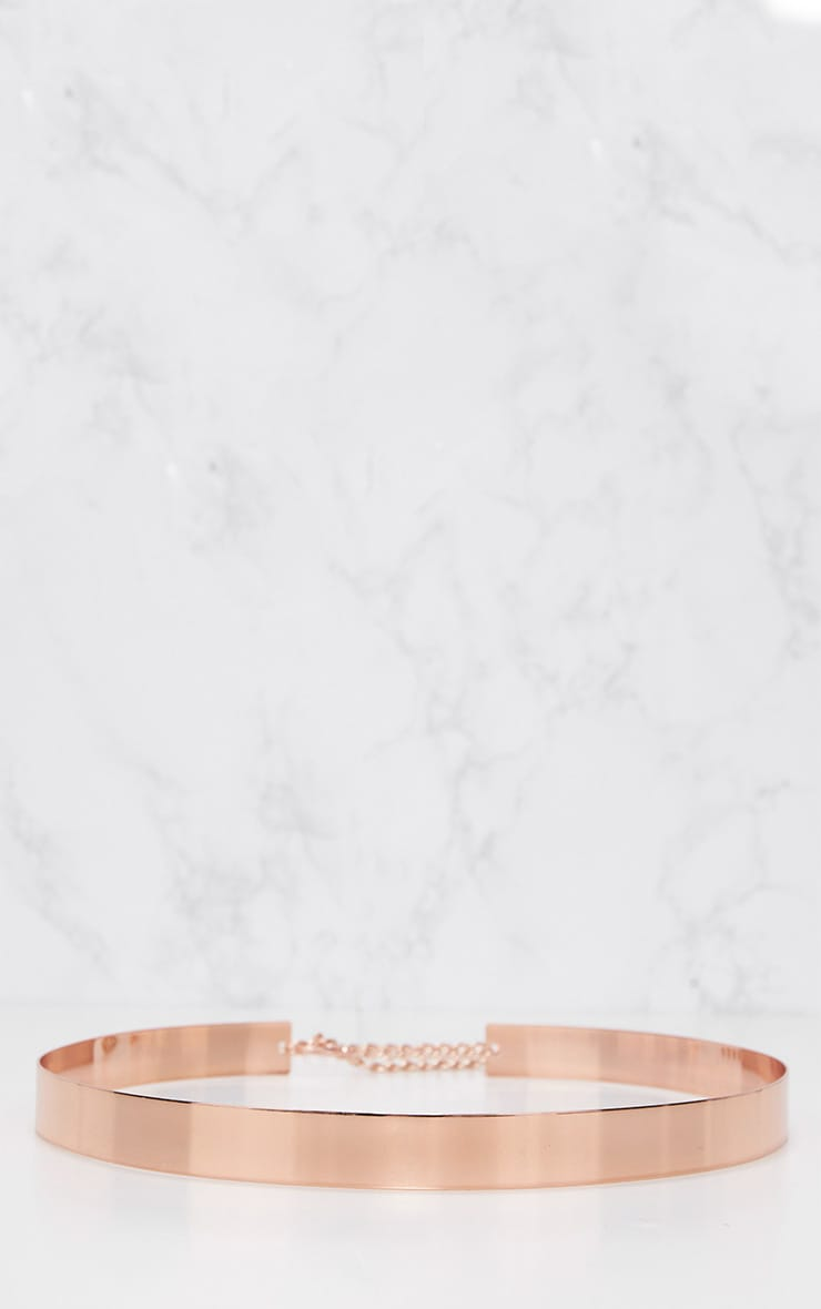 Rose Gold Thin Metal Plated Waist Belt 4