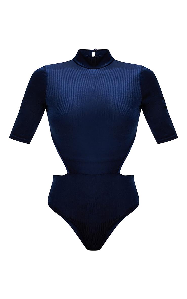 Navy Velvet Rib Open Back High Neck Thong Bodysuit 3