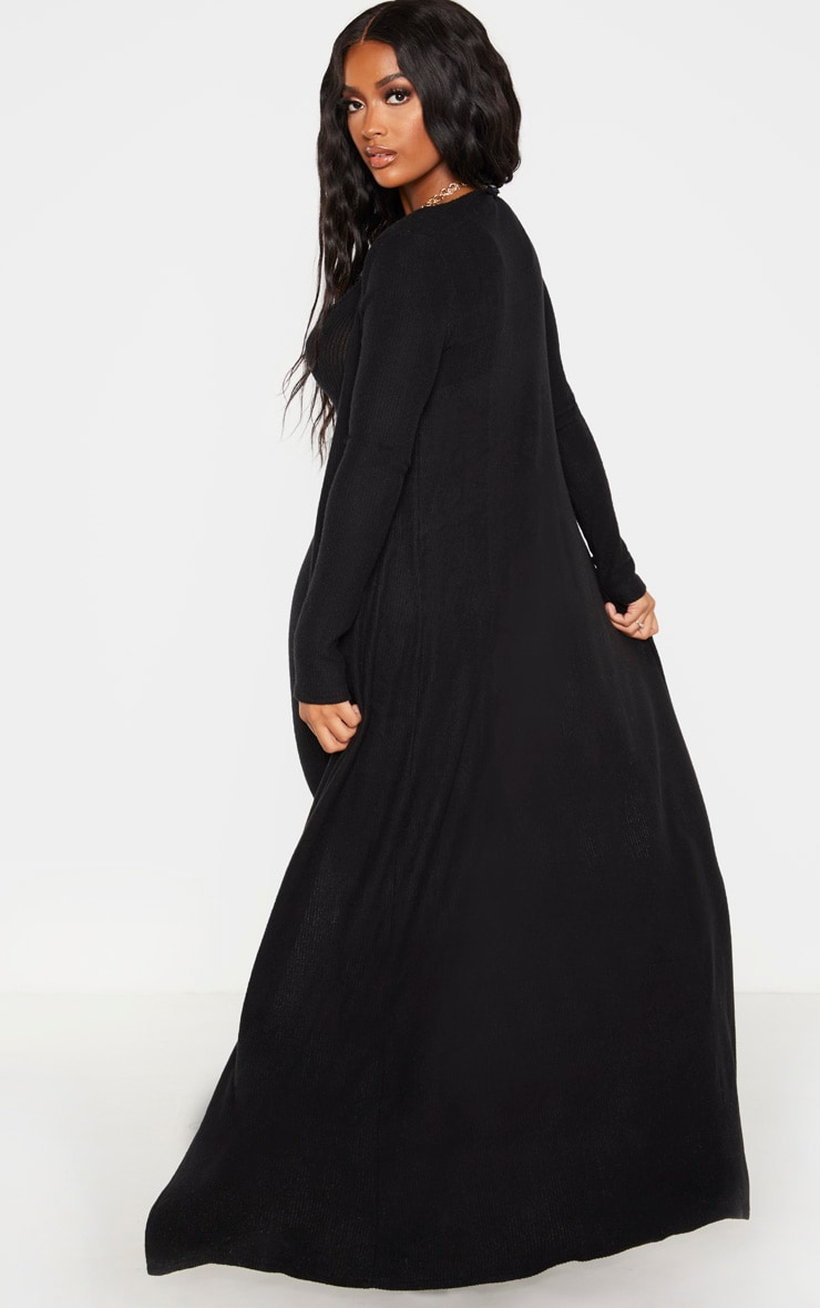 Shape Black Brushed Rib Duster Jacket 2