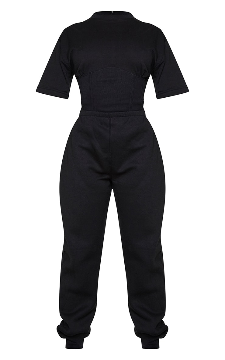 Shape Black Corset Detail Short Sleeve Sweat Jumpsuit 5