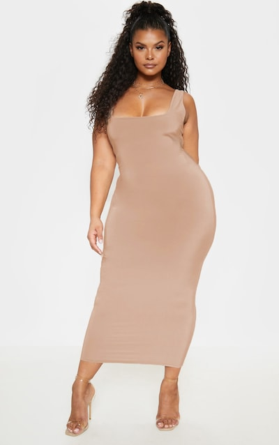 b98370ddda Plus Camel Slinky Square Neck Midi Dress PrettyLittleThing Sticker
