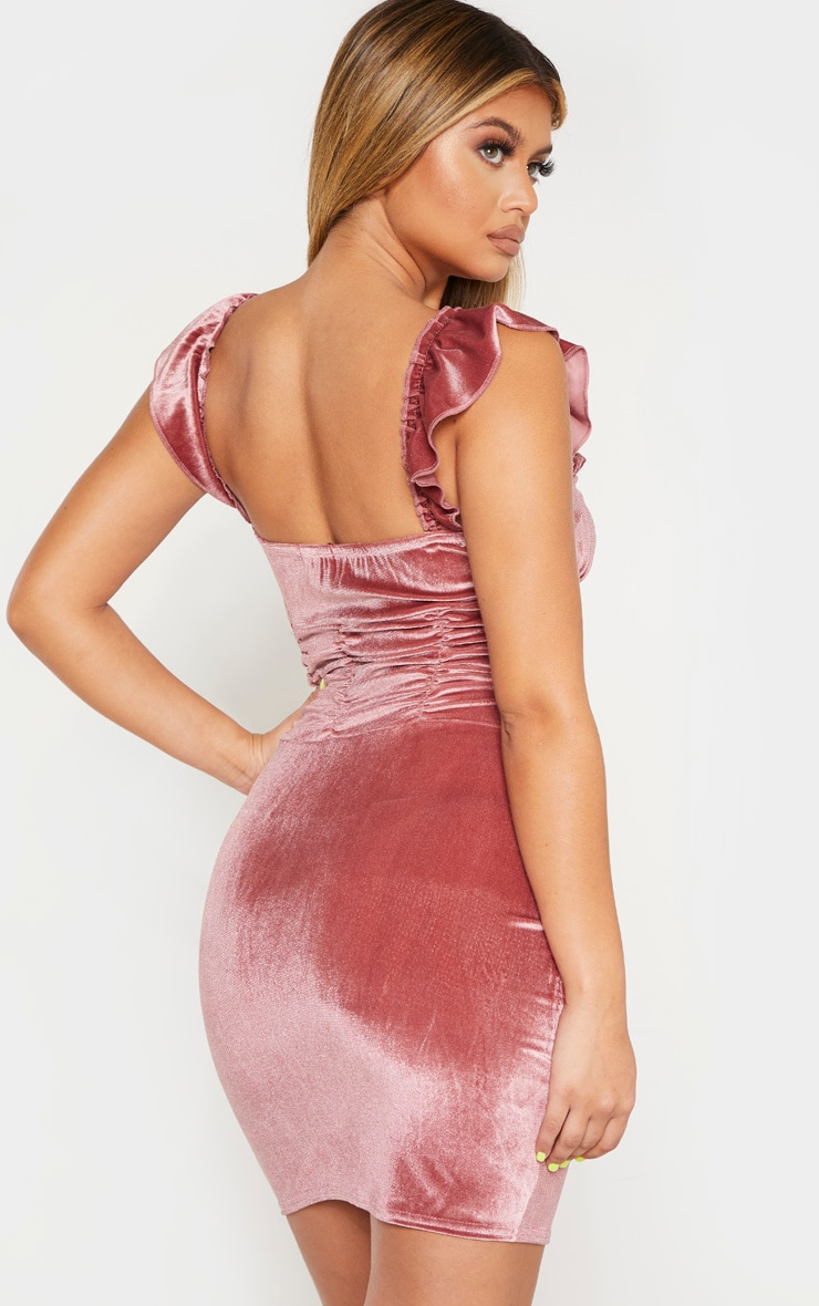 Pink Sleeveless Ruched Detail Bodycon Dress 2