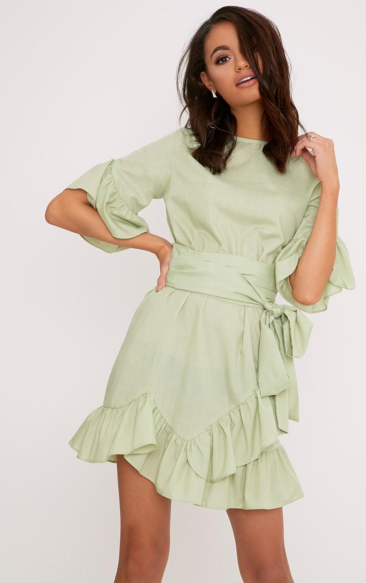 Aaliyah Sage Green Frill Detail Mini Dress 4