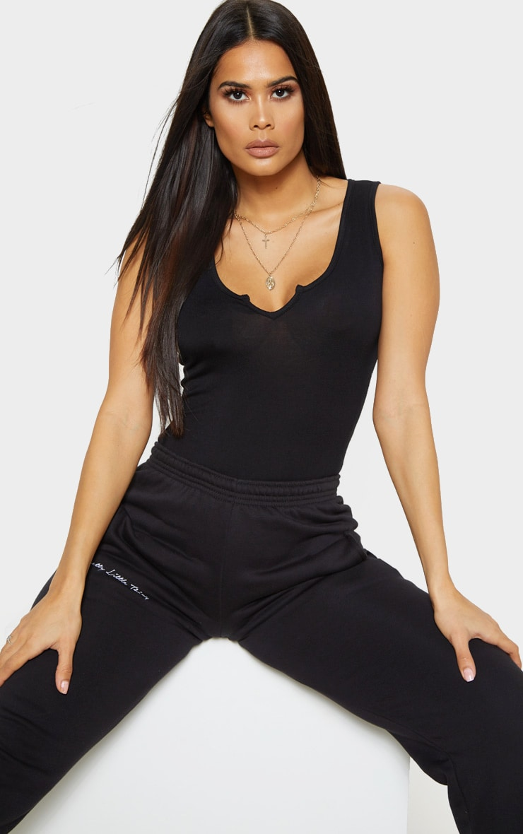 Black V Sleeveless Bodysuit 1