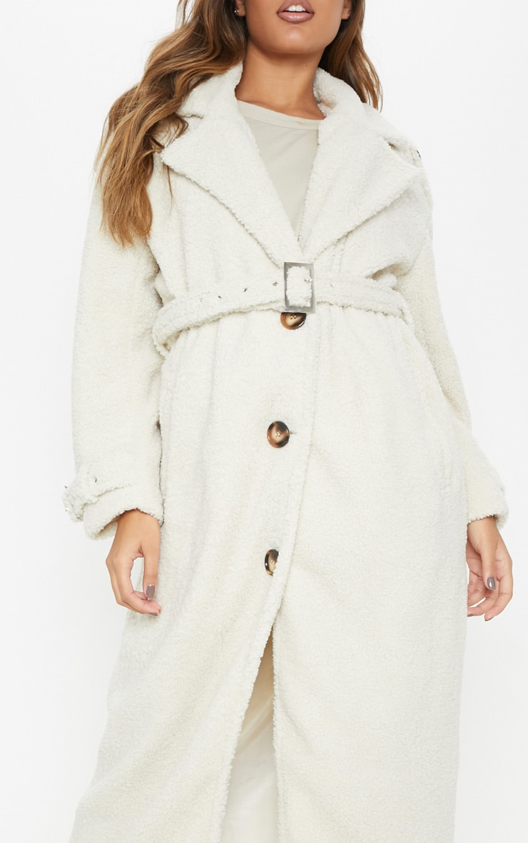 Cream  Borg Oversized Belted Coat 5