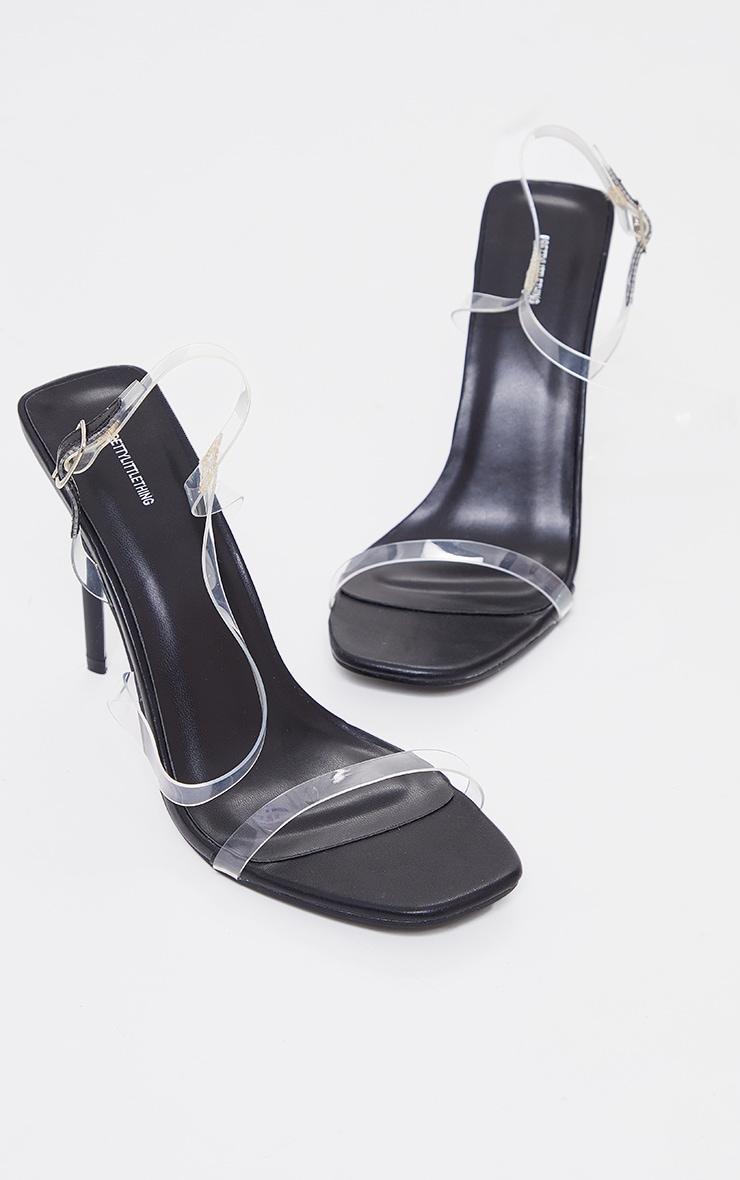 Sandales transparentes en similicuir noir à brides asymétriques 3