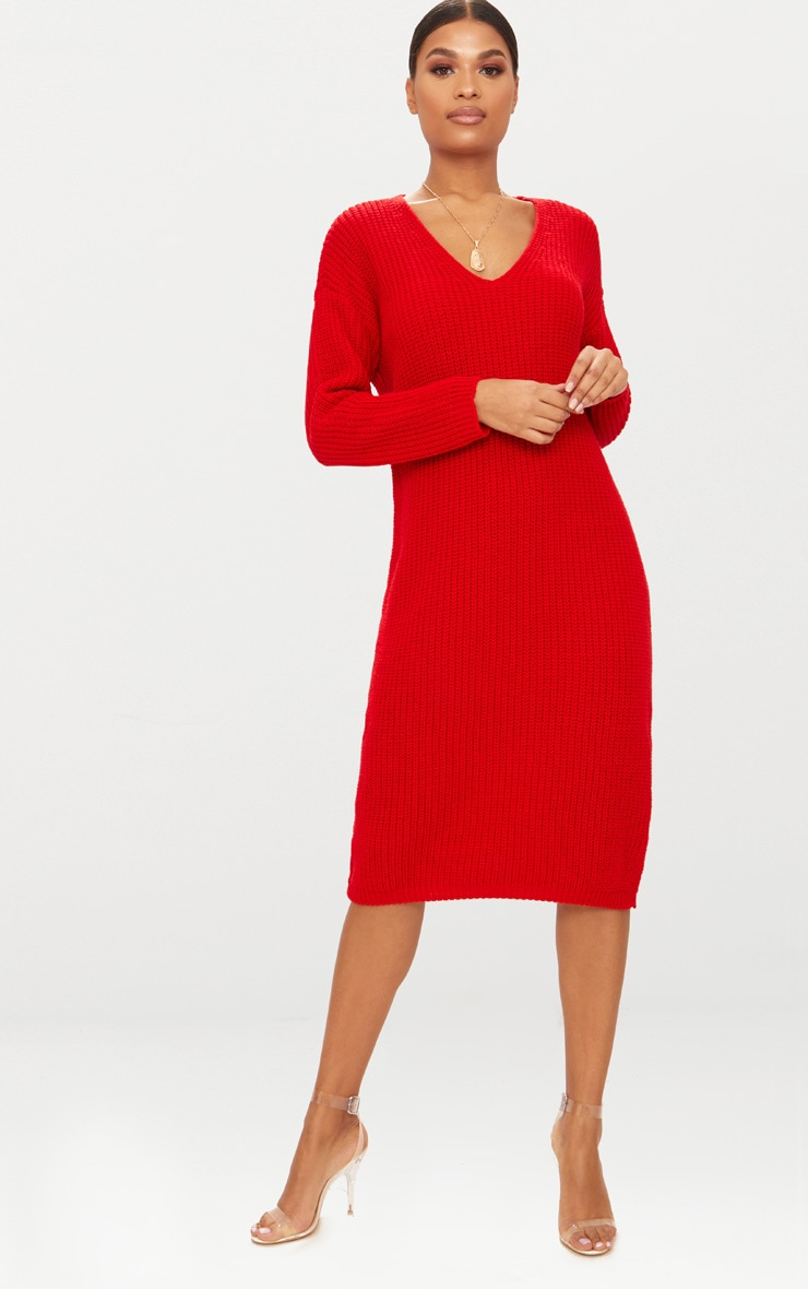 Red V-Neck Oversized Knitted Dress 1