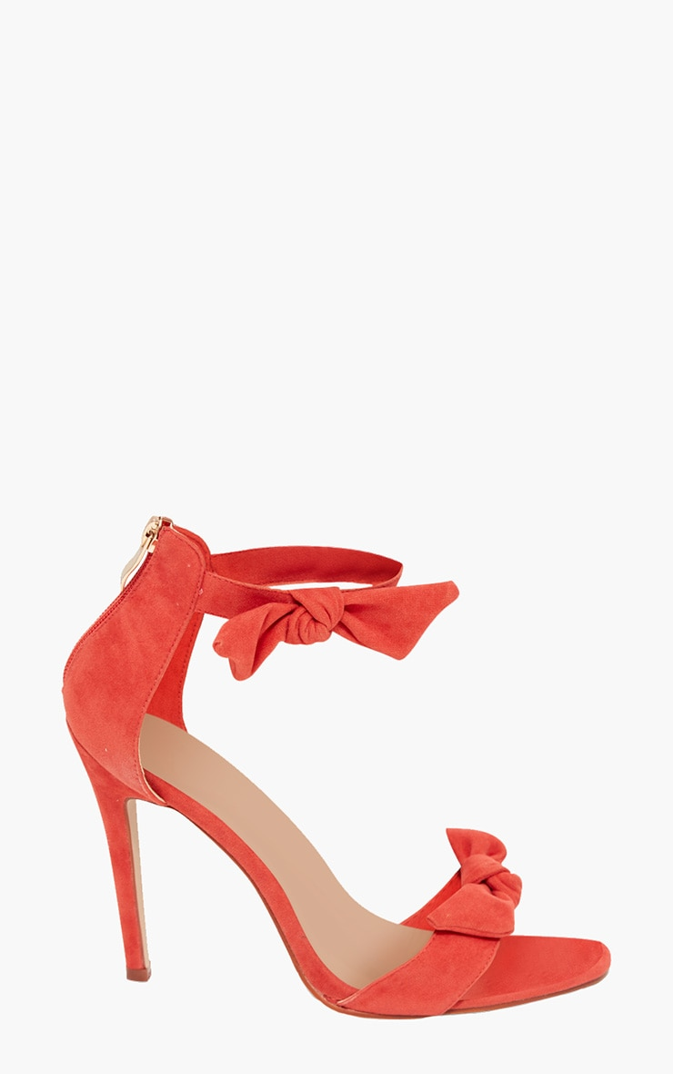 Orange Bow Strap Heeled Sandals  3