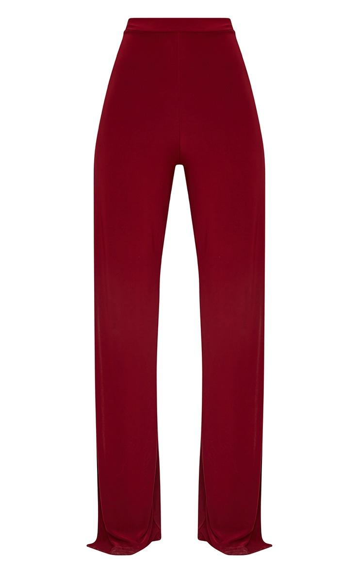 Darsee Burgundy Side Split Slinky Trousers 3