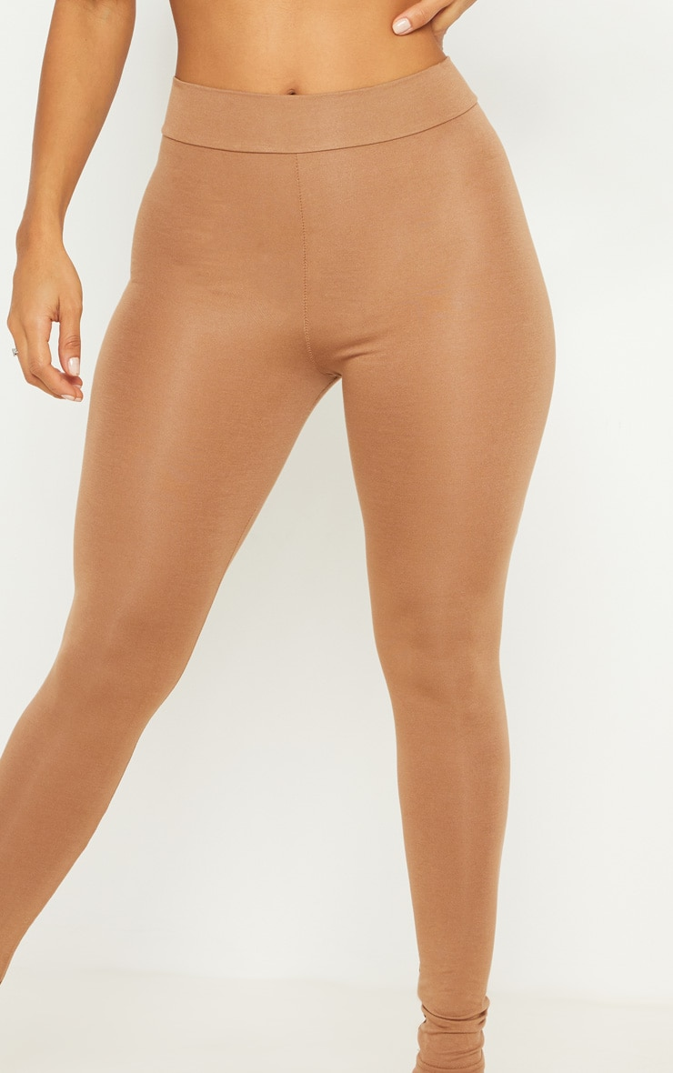 Basic Camel High Waisted Jersey Leggings 5