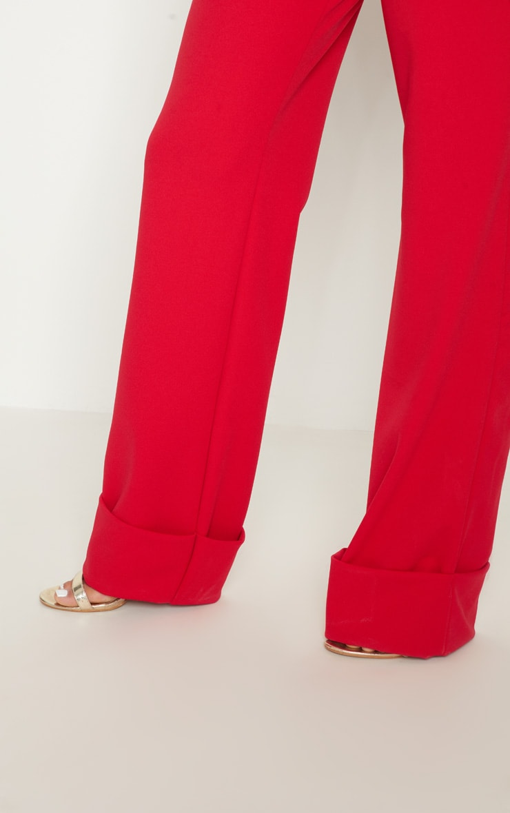 Red Crepe Deep Turn Up Wide Leg Trouser 5