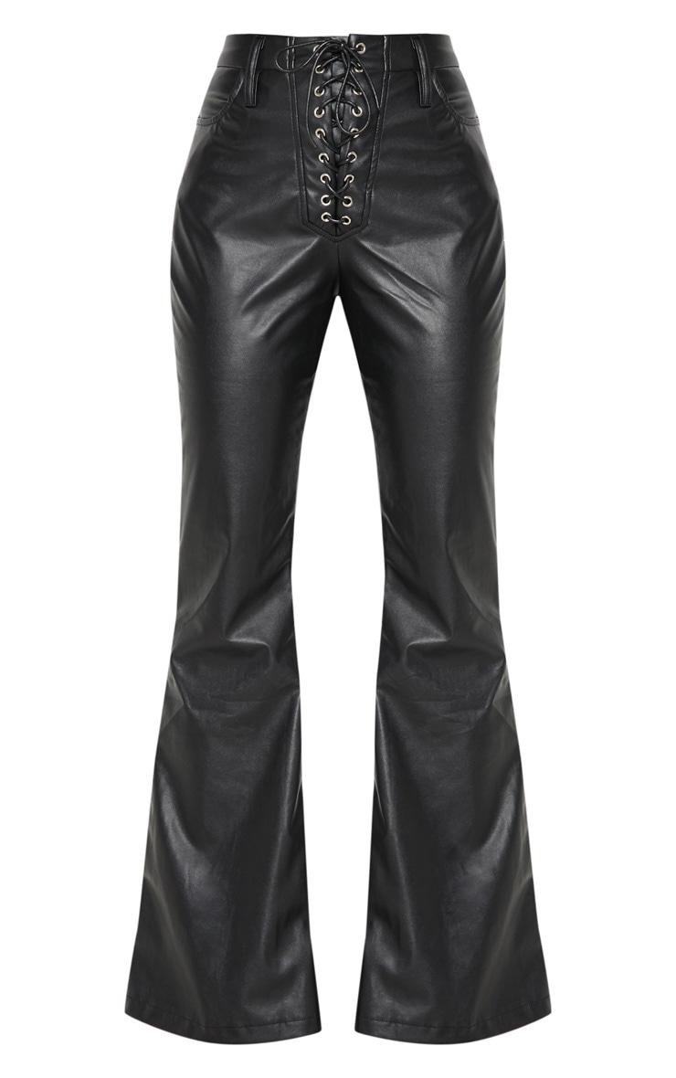 Black Faux Leather Lace Up Front Flare Leg Pants 3