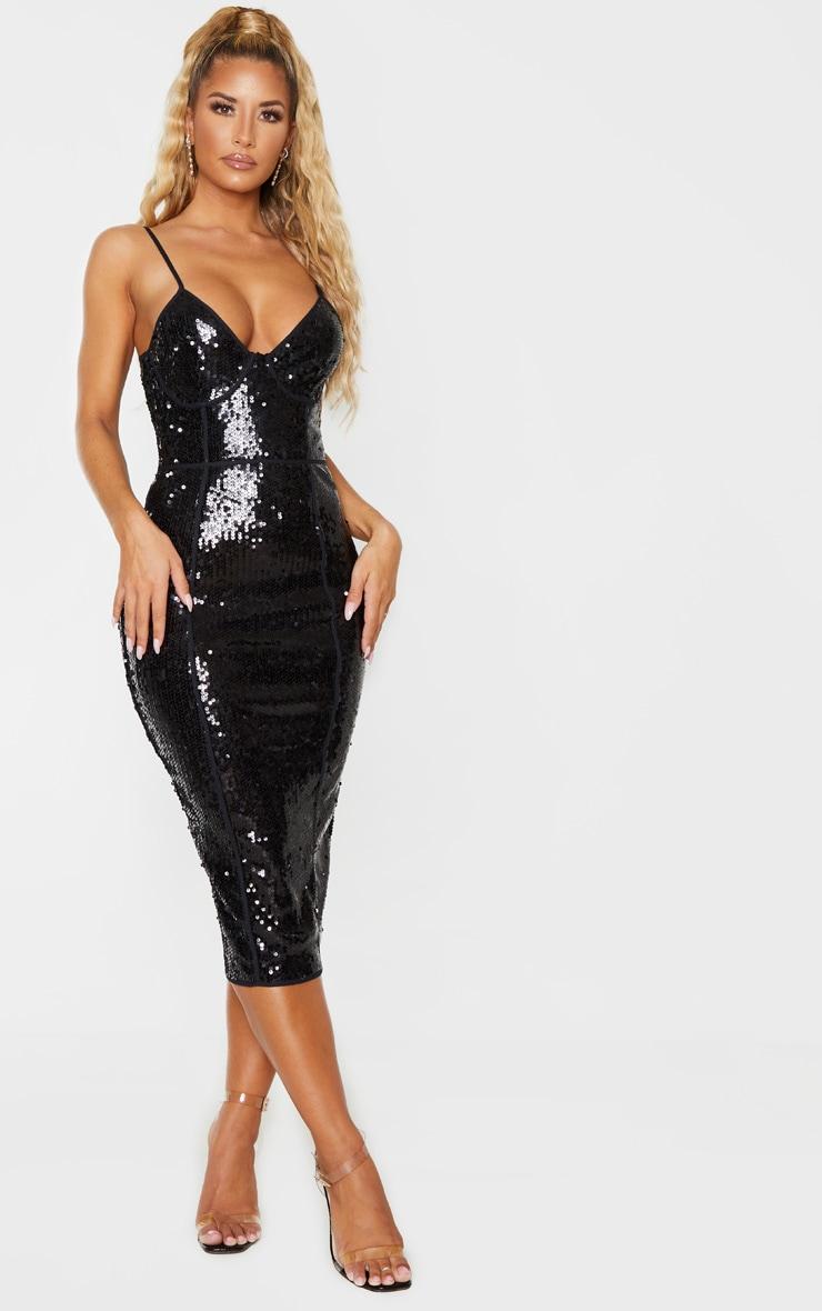 Black Sequin Binding Detail Strappy Midi Dress 4