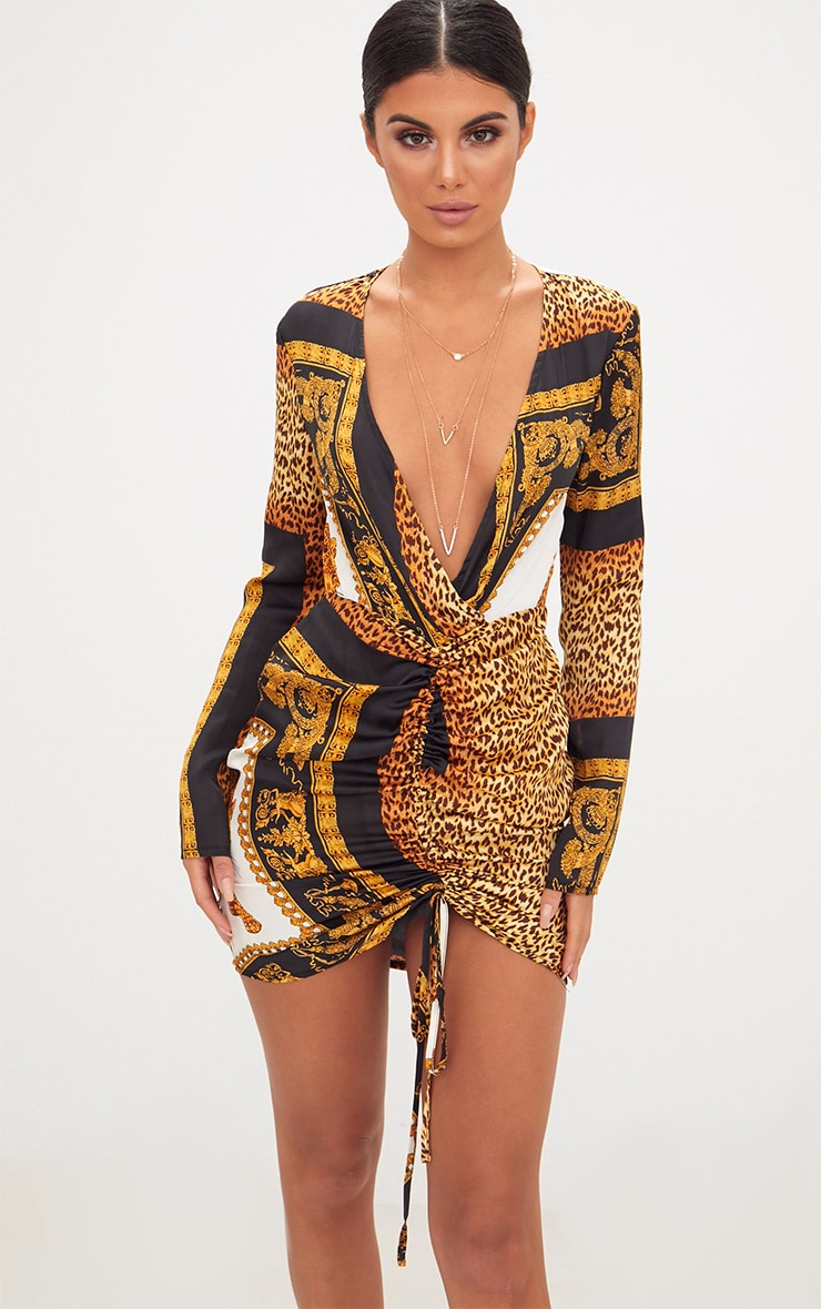 Animal Scarf Print Satin Plunge Ruched Front Bodycon Dress