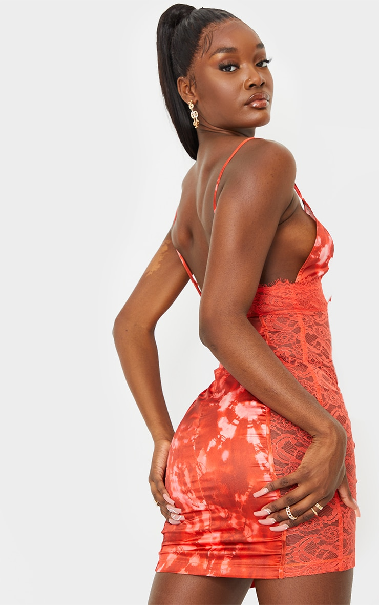 Tall Orange Tie Dye Lace Detail Satin Slip Dress 2