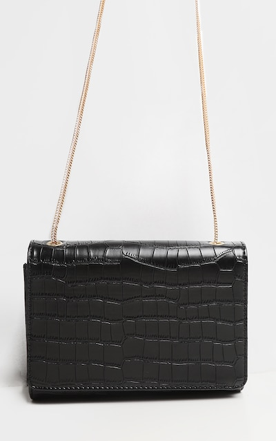 Black Croc Rectangle Cross Body Gold Chain Bag
