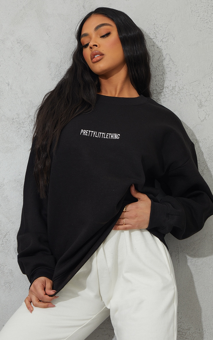 PRETTYLITTLETHING Black Lounge Embroidered Sweatshirt