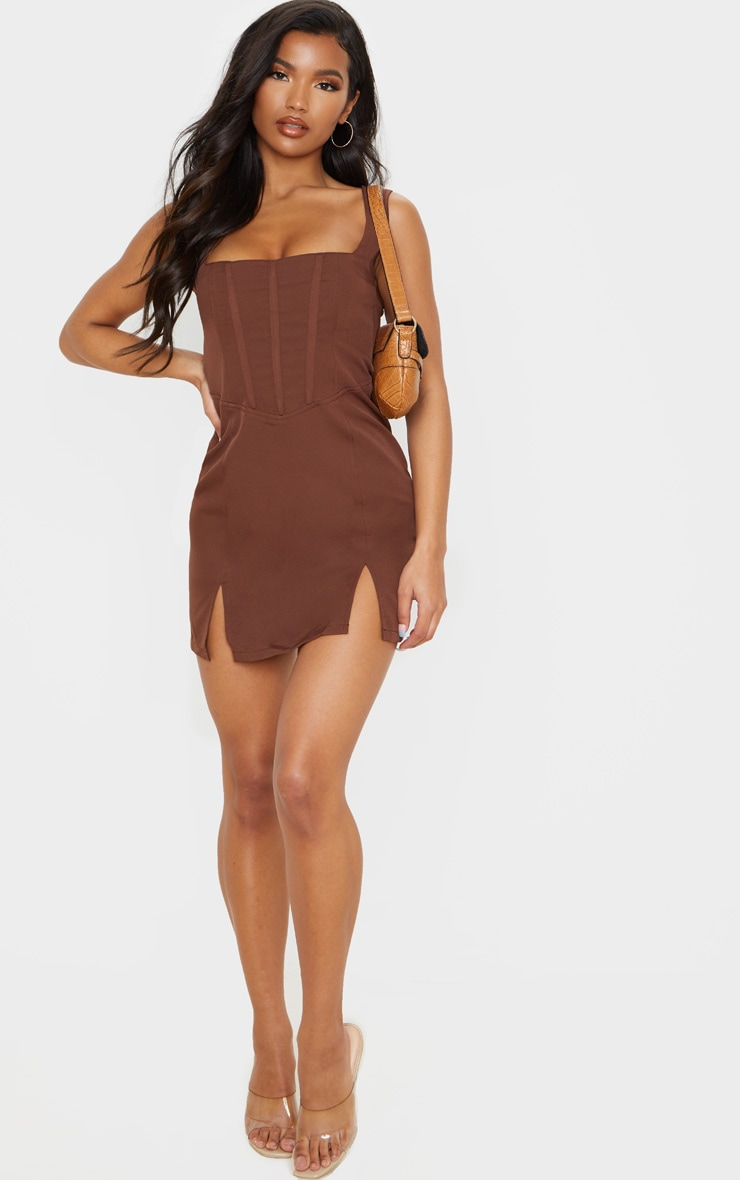 Chocolate Brown Sleeveless Corset Detail Bodycon Dress 4