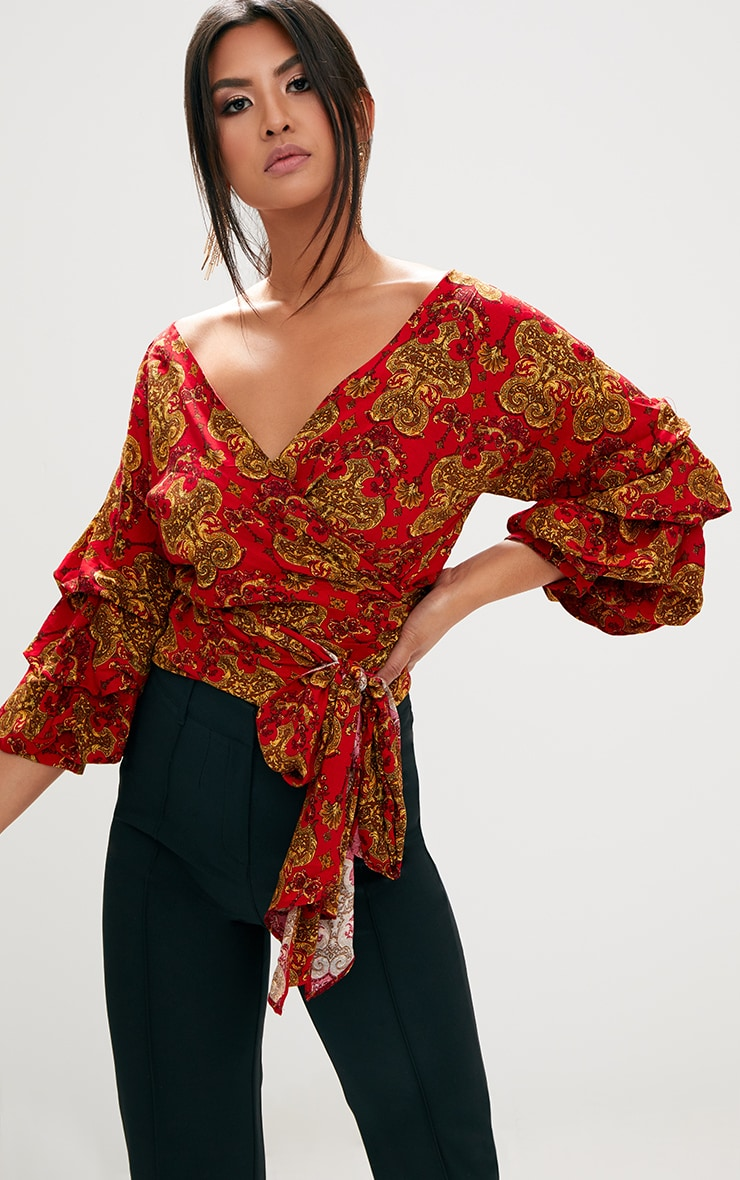 Red Chain Print Ruffle Sleeve Low Shoulder Shirt 1
