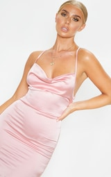 Pink Satin Cowl Lace Up Bodycon Dress 5