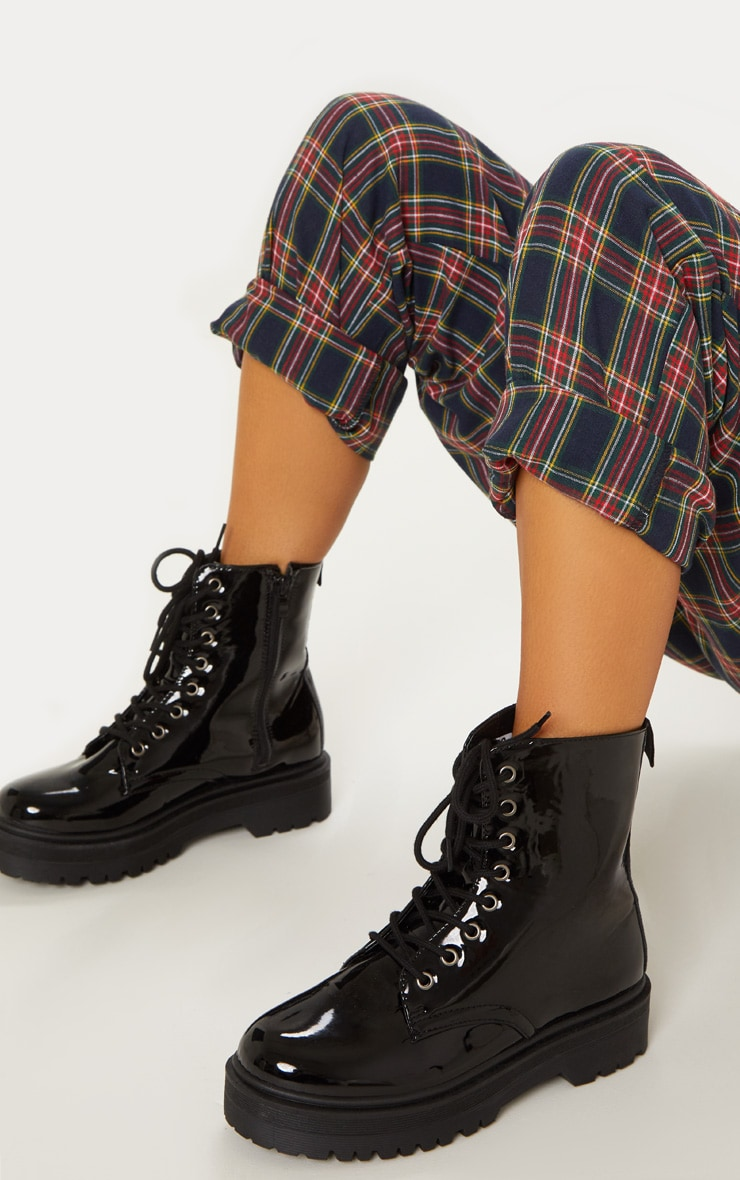 Black Patent Chunky Cleated Boot 2