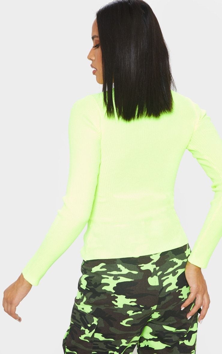 Neon Yellow Ribbed Zip Up Knitted Top  2