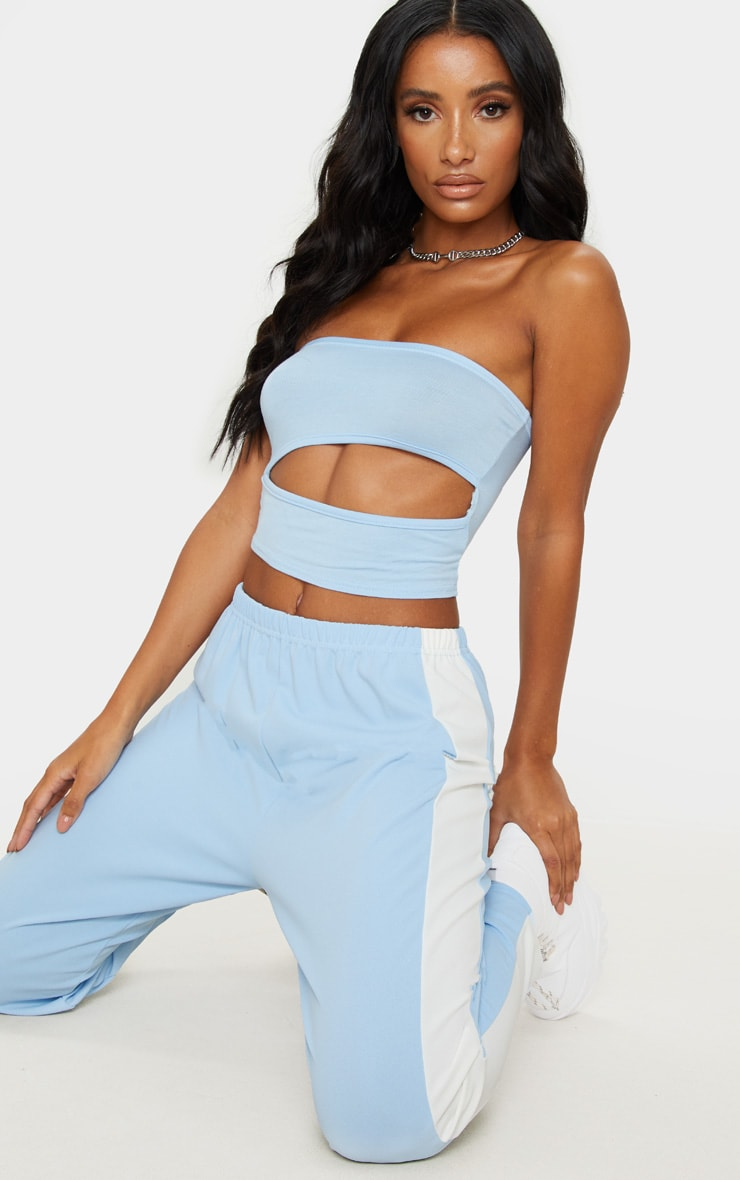 Baby Blue Jersey Bandeau Cut Out Crop Top 3