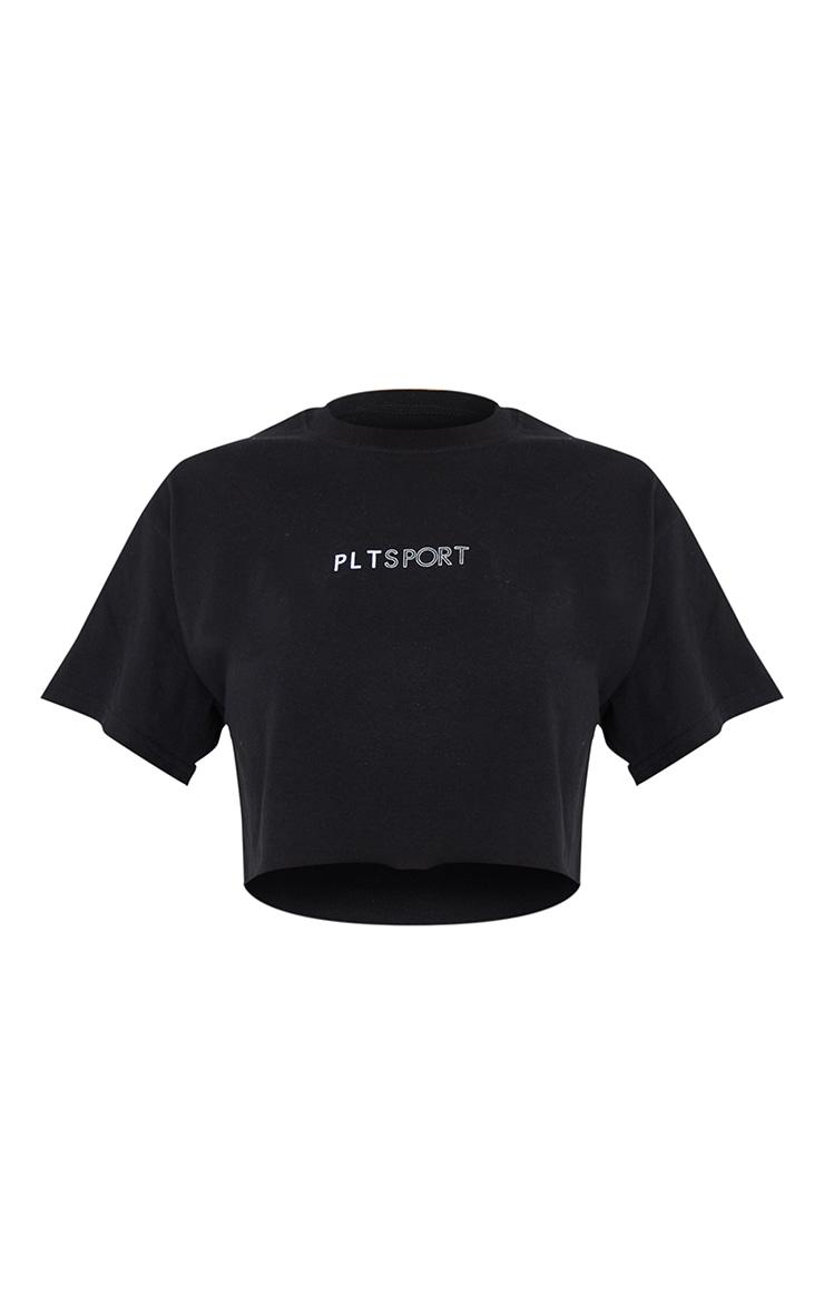 PRETTYLITTLETHING Sport Black Crop T-shirt 5