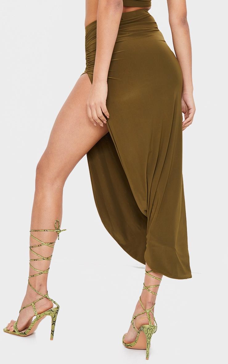 Khaki Slinky Ruched Side Split Split Midaxi Skirt 3