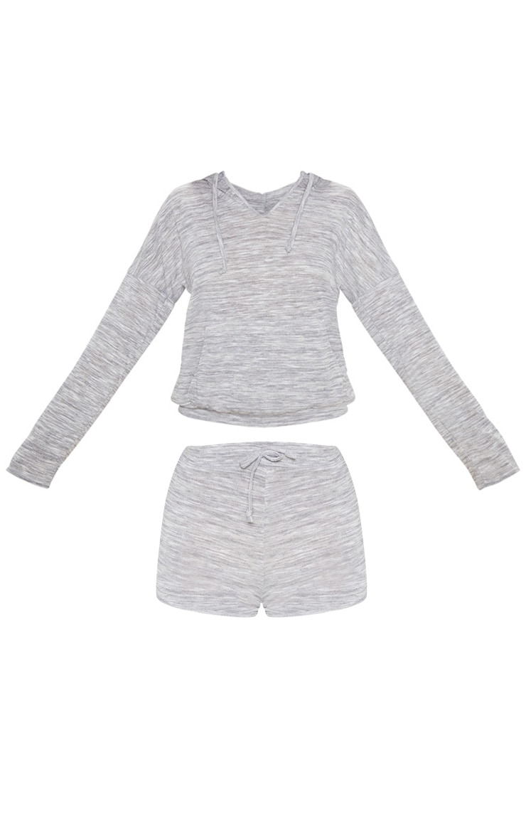 Grey Slouchy Hoodie And Short PJ Set 3