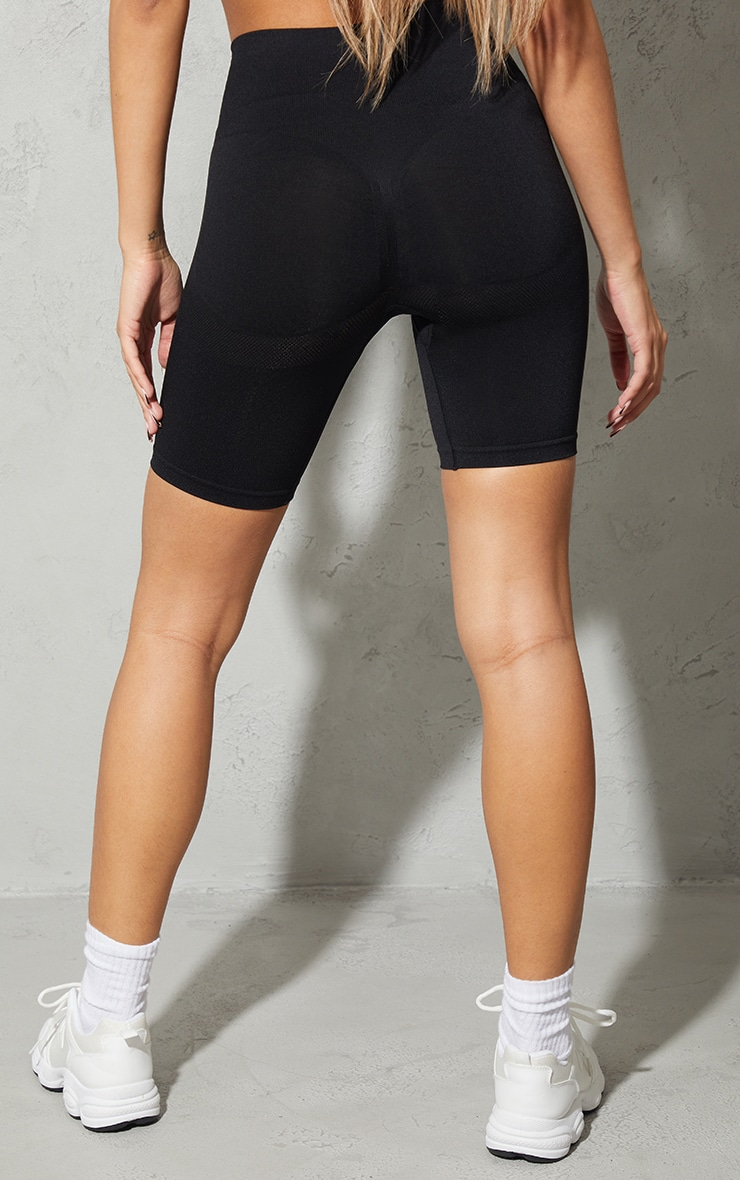 Black Seamless Ruched Bum Cycle Shorts 3
