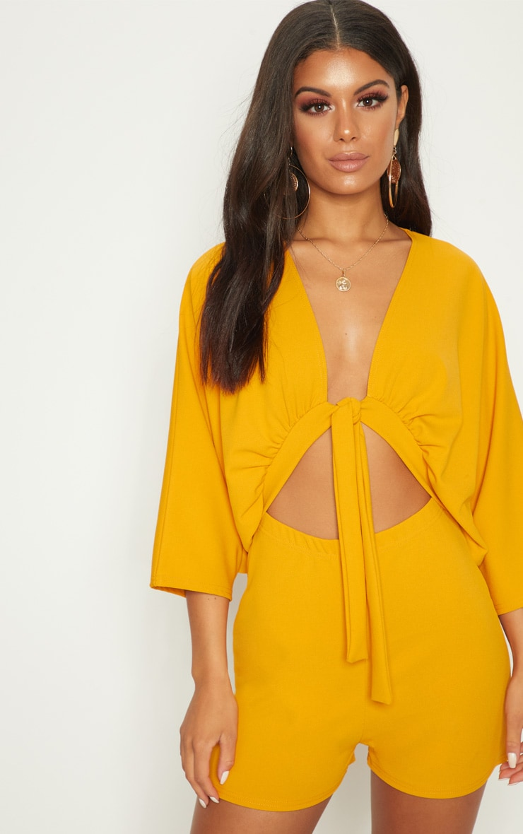 Mustard Crepe Batwing Cut Out Playsuit 4
