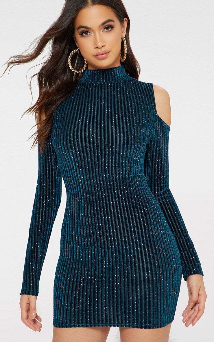 Teal Glitter Cold Shoulder Bodycon Dress 1
