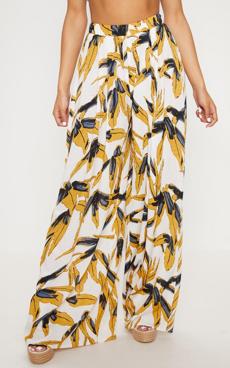 White Palm Print Wide Leg Trousers 2