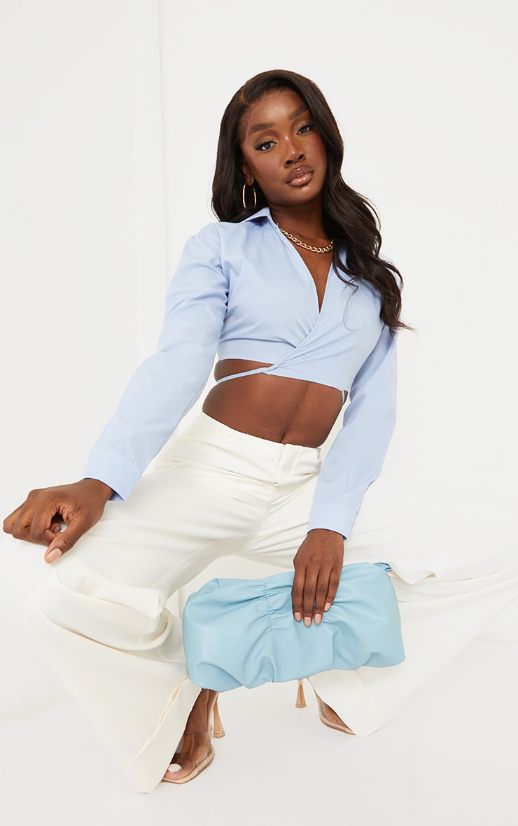 Tall Blue Cropped Long Sleeve Tie Shirt 3