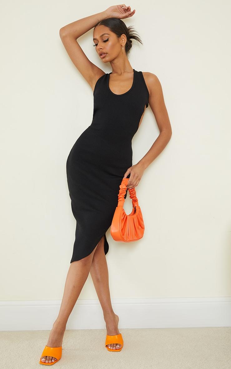 Black Ribbed Open Back Detail Sleeveless Midi Dress 2