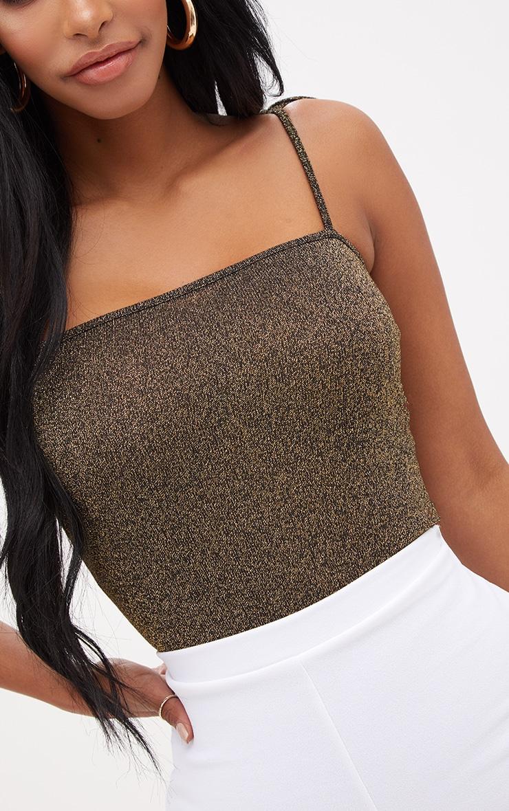 Shape Gold Tie Strap Lurex Bodysuit 6
