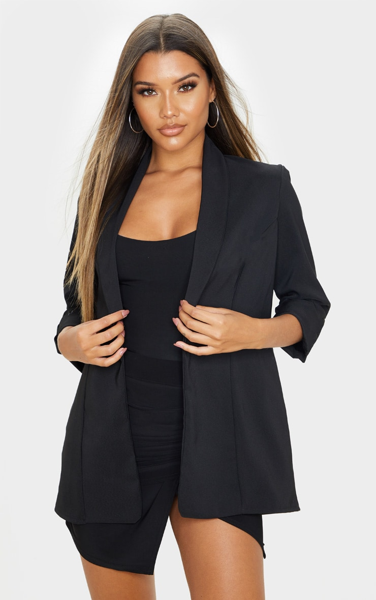 Black Woven Turn Up Sleeve Blazer 1