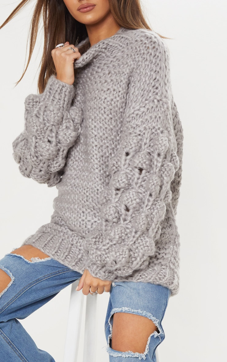 Grey Oversized Jumper Knitted 6