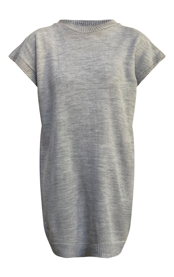 Grey Wide Shoulder Sleeveless Knitted Sweater Dress 5