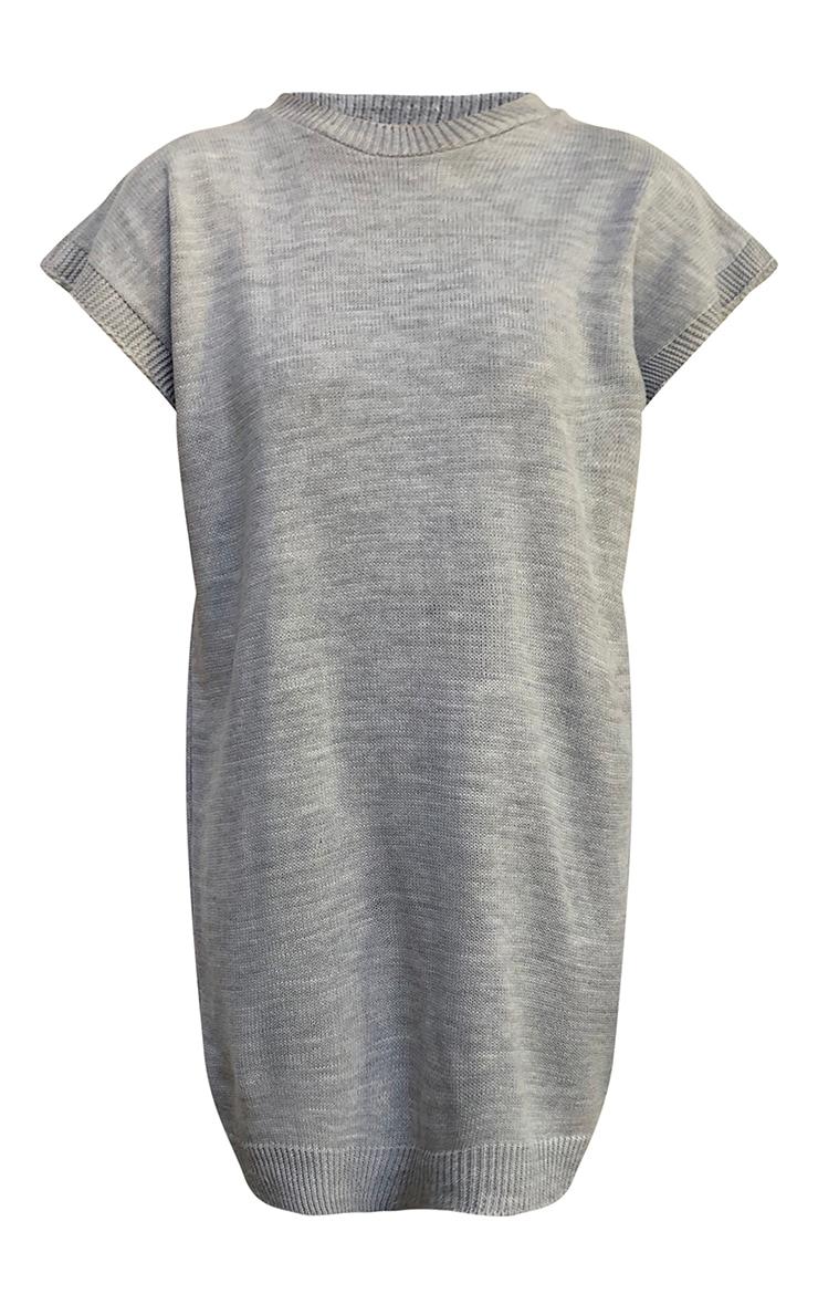 Grey Wide Shoulder Sleeveless Knitted Jumper Dress 5