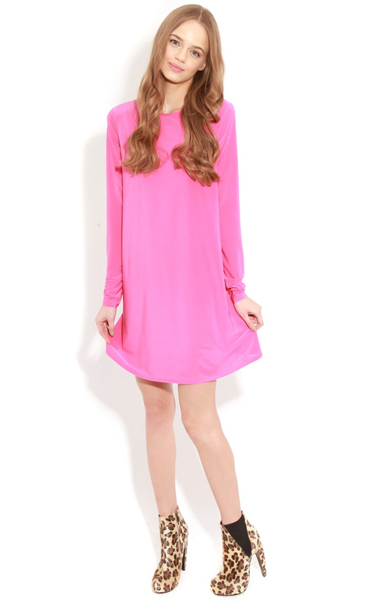 Ellen Fuchsia Long Sleeved Swing Dress  3
