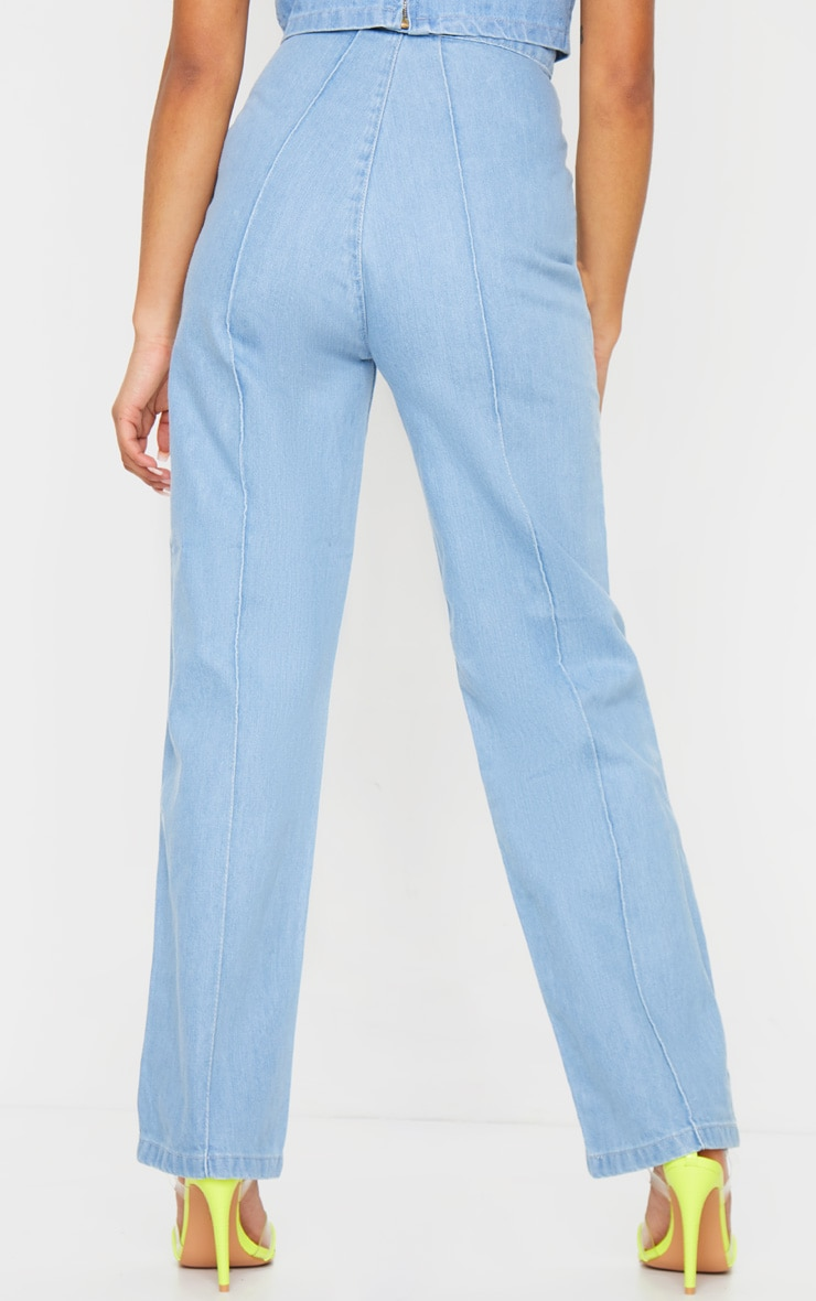 Petite Light Wash Wide Leg Jeans 3