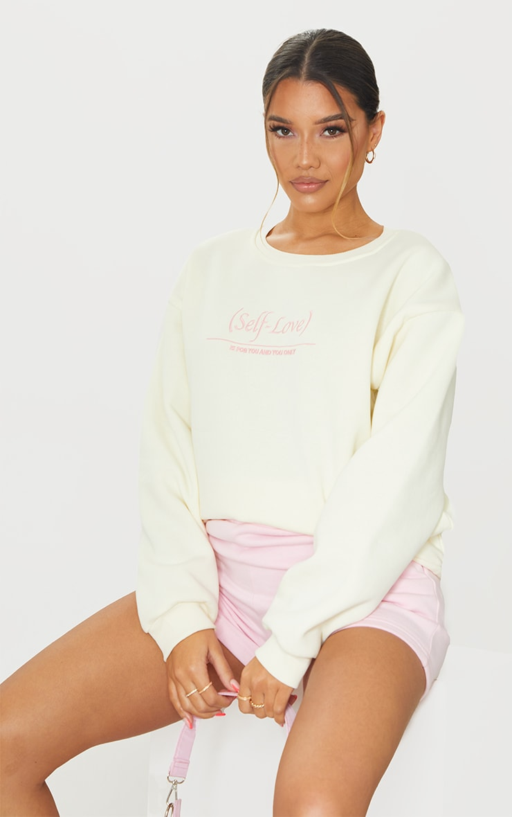 PRETTYLITTLETHING Cream Self Love Club Embroidered Sweatshirt 1