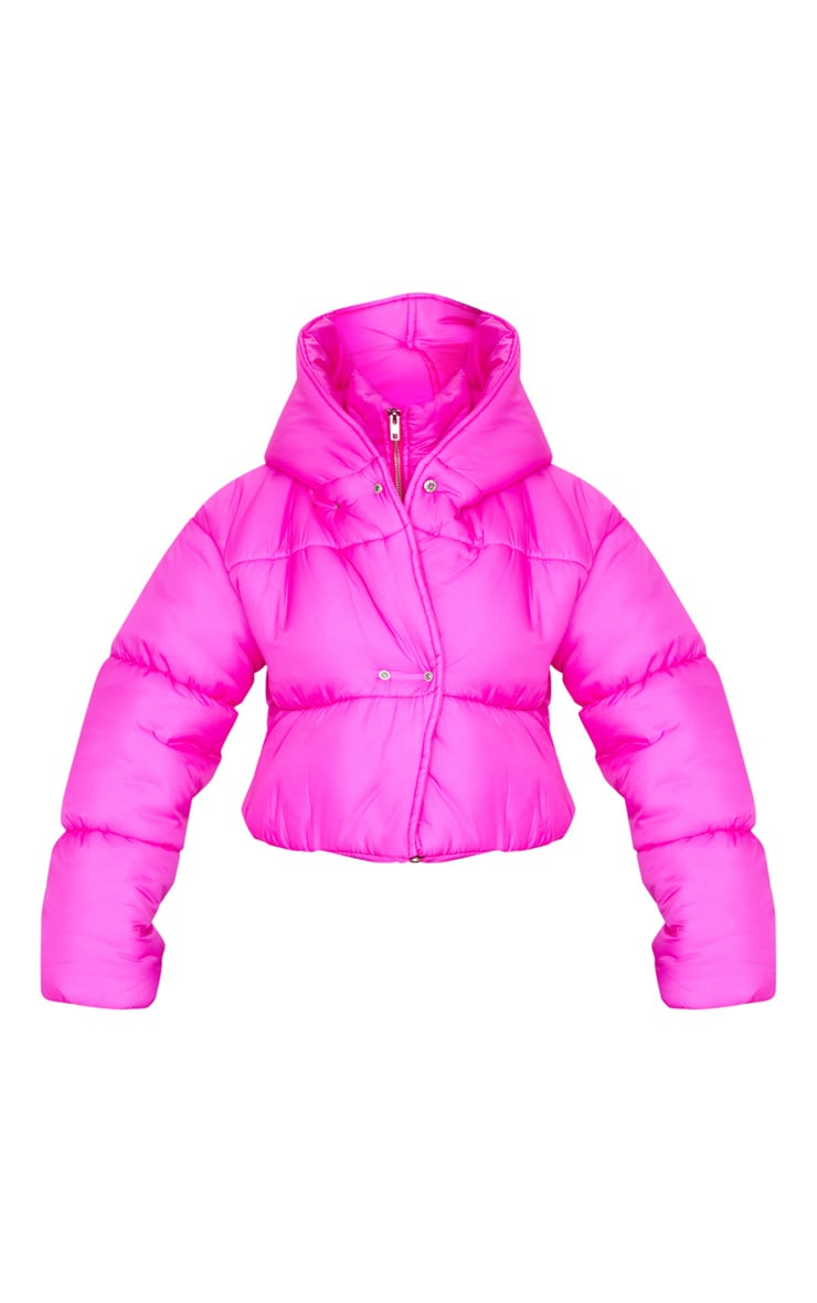 Hot Pink Double Layer Cropped Hooded Puffer 3