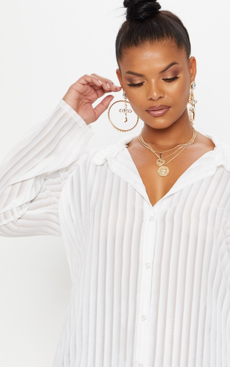 Plus White Striped Chiffon Oversized Shirt 5