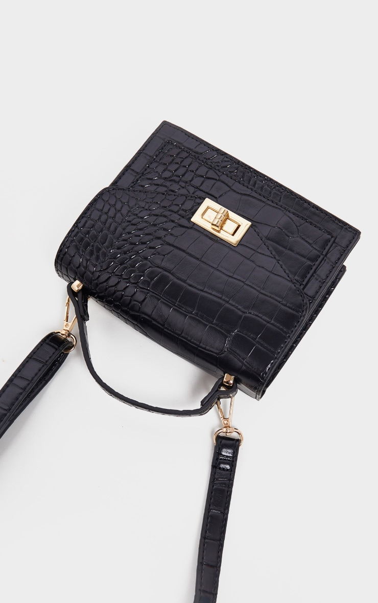 Black Croc Cross Body Bag 2