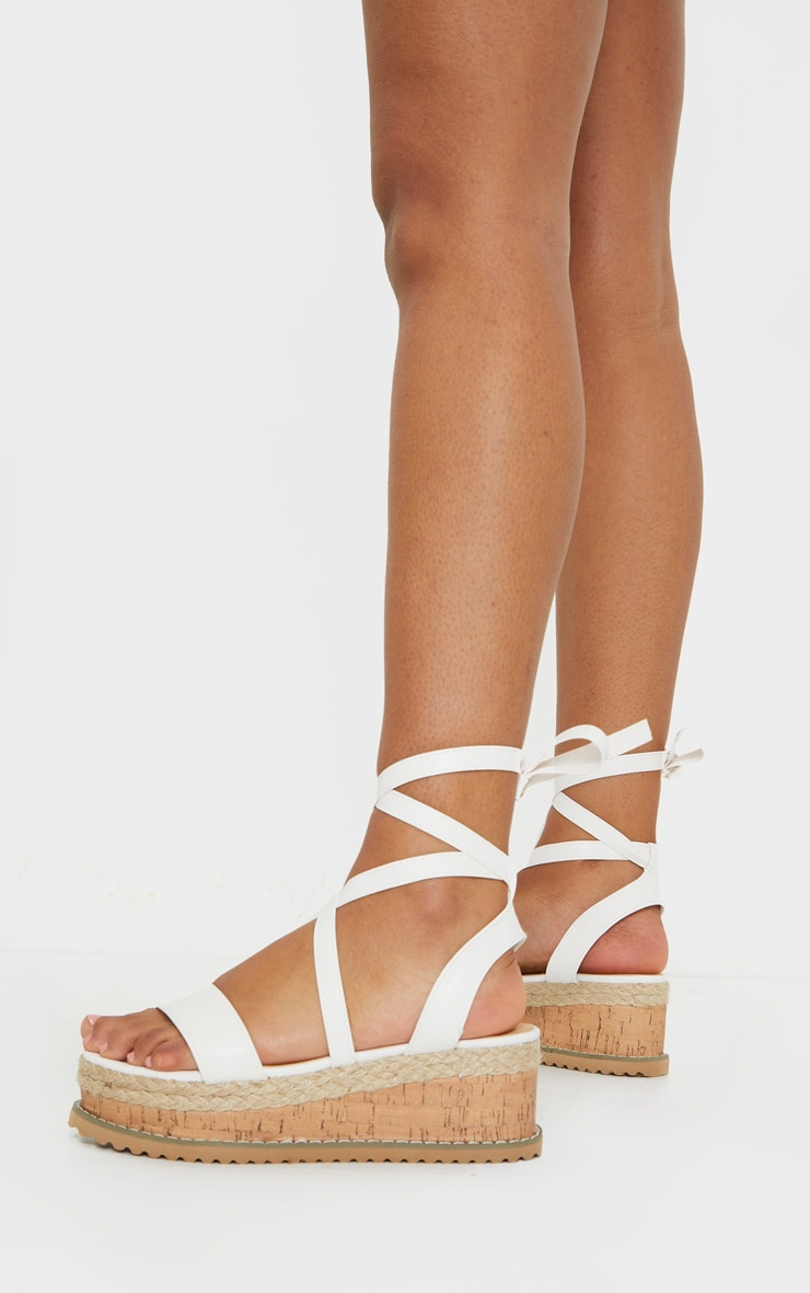 White Wide Fit PU Tie Ankle Espadrilles 2