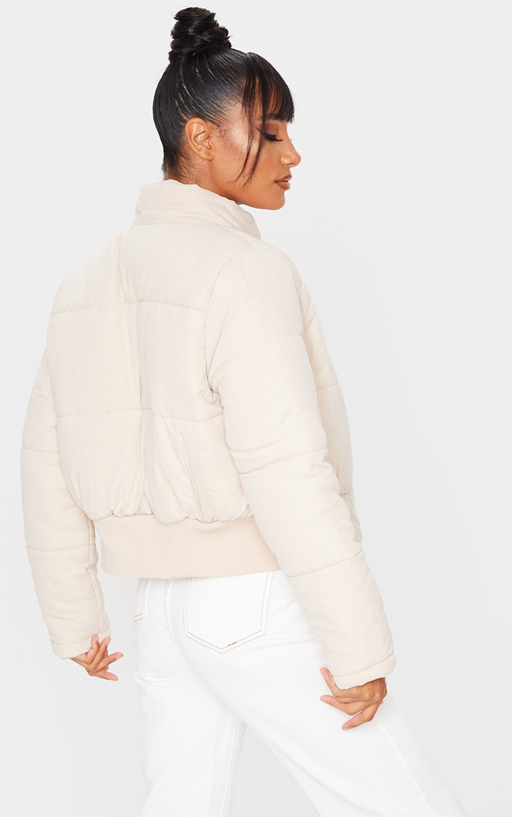 Peach Skin Cropped Puffer Jacket 4